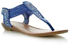 157ae8fcbac5 Dune Head over Heels Ladies KNIGHT - BLUE Diamante Toe Post Sandal on  shopstyle.co.uk