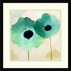 Vibrant blue and green watercolor paints run together in this charming floral piece by Margaret Berg. Perfect for contemporary decor, this fine art print will brighten any room.<br><br><ul><li>Artist:...