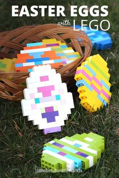 LEGO Easter Eggs for kids to make with basic bricks. Fun building idea and Easter activity for kids and families. Perfect for Easter STEM challenge.