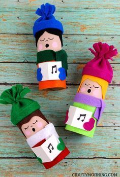 Toilet Paper Roll Christmas Carolers - so fun for a kids craft! Toilet Paper Roll Christmas Carolers - so fun for a kids craft! Christmas Toilet Paper, Christmas Activities, Christmas Crafts For Kids, Christmas Projects, Kids Christmas, Holiday Crafts, Christmas Ornaments, Hygge Christmas, Christmas Morning