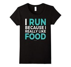 Funny running t-shirts, running quotes - run for food. Gift ideas for runners, whether running marathons, ultra, trails, or is a beginner training for their first 5K or 10K! Can be good for high school and college students for cross country or track too. Fitness gifts to help with the workout, race bib and medal display, or make a runner's gift basket! So whether Christmas, birthday, another holiday gift, or just post-race celebration after a first race, good for women, for men.! #running