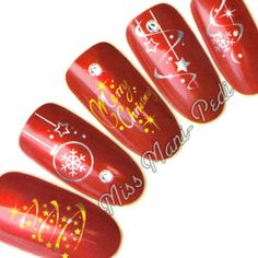 Nail Art Water Transfers Decals Christmas Xmas Trees Metallic Silver/Gold C050