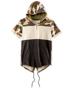 Hudson NYC Men's Colorblocked Camouflage Short-Sleeve Fishtail Hoodie - T-Shirts - Men - Macy's