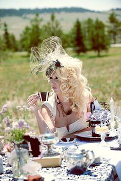 Melissa Schans modeling Mad Hatter's Wedding Goes West photo shoot.