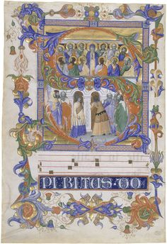 Leaf from a gradual (choirbook) with an initial S, 1392-1399; by illuminator Don Silvestro dei Gherarducci (1339 - 1399); Florence, Italy; Water-based pigments, gilding and ink on parchment (Victoria and Albert Museum)