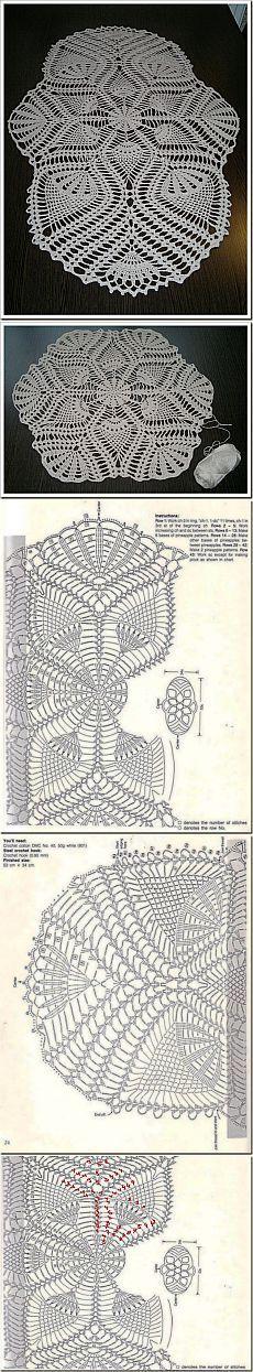 Crochet doily, mini toalha de mesa (esquema)