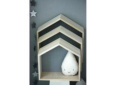 Etagères bois en forme de maison fond gris orage - Petit modèle