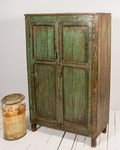 Vintage Distressed Kitchen Cupboard Turquoise Green Indian Warm  Industrial Shabby Chic Clothing Storage Cabinet