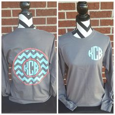 Monogrammed Chevron Circle Long Sleeve Shirt. by ElleQDesigns