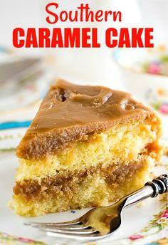 Southern Caramel Cake Southern Caramel Cake, Funfetti Kuchen, Cake Recipes, Dessert Recipes, Frosting Recipes, Bread Recipes, Caramel Icing, Caramel Cakes, Southern Kitchens