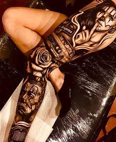 Full Leg Tattoos, Car Tattoos, Girl Arm Tattoos, Dope Tattoos, Badass Tattoos, Body Art Tattoos, Tattoo Femeninos, Throat Tattoo, Tattoo Bein
