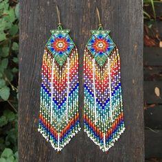 Puspa...Fractal seed bead earrings, sacred geometry, handmade, OOAK, tribal, gypsy, boho, southwestern