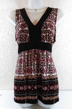 AGENDA Size Large Geo Top Blouse Red Brown Black Gray V-Neck Sleeveless B234 #Agenda #Blouse #Casual