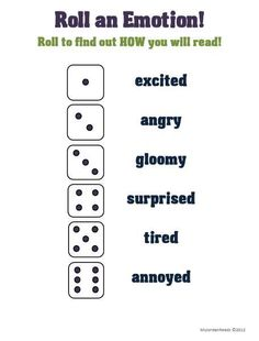 Roll an Emotion activity for writing about characters of reading aloud.