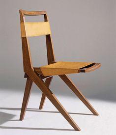 Lina Bo Bardi; Wood and Leather Folding Chair, 1948.