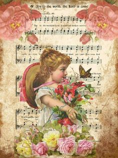 Child, roses, decopage, vintage