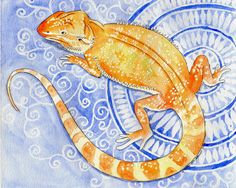 Bearded dragon watercolor