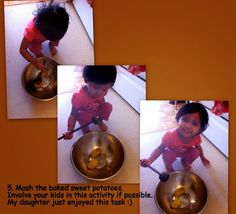 Mashing Baked Sweet Potato - Kid's Activity