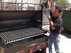 This is the Scottsdale Cooker fabricated out of Steel Plate. Features a removable Lid and Windbreak breaking down to a traditional Santa Maria Style Coo. Parilla Grill, Custom Bbq Pits, Wood Grill, Barbecue, Grilling, American, Outdoor Decor, Chicken, Youtube