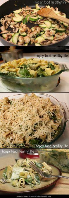 Creamy Zucchini and Spinach Rigatoni