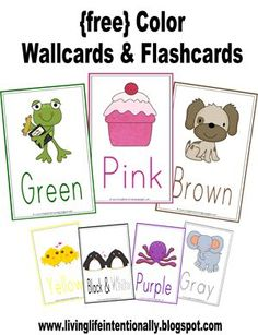 FREE Color Flashcards and Wall cards for toddlers and preschoolers