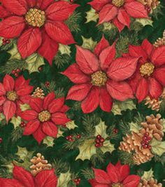 Holiday Inspirations Christmas Susan Winget Poinsettia Pines Green Fabric