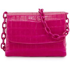 Nancy Gonzalez Crocodile Triple-Gusset Mini Crossbody Bag (4.375 RON) ❤ liked on Polyvore featuring bags, handbags, shoulder bags, purses, handbags crossbody, pink, pink shoulder handbags, mini crossbody, pink handbags and man bag