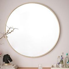 Metal Framed Oversized Round Mirror #westelm available in brushed nickel