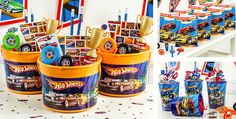 From glow sticks to temporary tattoos, find all the party favors you need for your birthday celebration or theme party. Hot Wheels Birthday, Race Car Birthday, Monster Truck Birthday, Boys 1st Birthday Party Ideas, Cars Birthday Parties, 1st Boy Birthday, Festa Hot Wheels, Hot Wheels Party, Car Themed Parties
