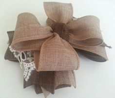 Burlap and Lace Hair Bow by littlemisscherrybomb on Etsy, $9.00
