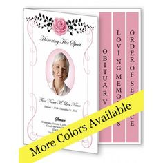 Flowers of Devotion Funeral Program Template - 4 Page Graduated ...