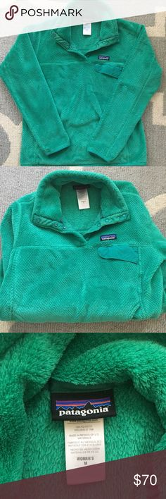 Patagonia Women's Re-Tool Snap-T Fleece Pullover Pre-owned Patagonia. Has only been worn a few times and is in like new condition. Beautiful emerald green color. Perfect for chilly summer evenings! Patagonia Tops Sweatshirts & Hoodies