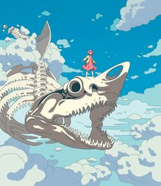 Art featuring giant creatures of the sea or sky. Kunst Inspo, Art Inspo, Art And Illustration, Anime Kunst, Anime Art, Fantasy Kunst, Fantasy Art, Art Sketches, Art Drawings