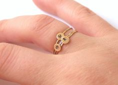 Set of Three Gold Custom Personalized Initial Rings by proteales