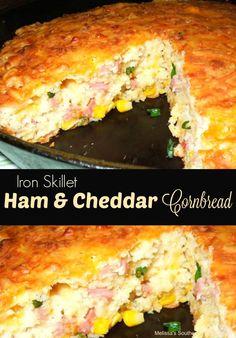 Iron Skillet Ham and Cheddar Cornbread