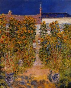 The Artist's Garden at Vetheuil, 1881 by Claude Monet. Impressionism. genre painting