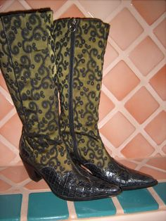 DONALD J. PLINER Knee High Army Green Satin/Croco Black Patent Leather Boots-8M #DonaldJPliner #FashionKneeHigh