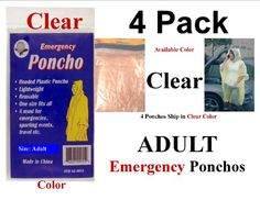 4 PK CLEAR EMERGENCY HOODED RAIN PONCHO W SIS EMERGENCY POUCH -- Click on the image for additional details.(This is an Amazon affiliate link)