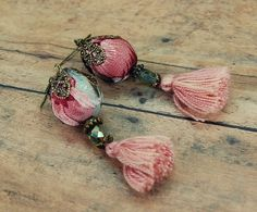 Boho Tassel Earrings Pink Earrings Hippie by PrimitiveFringe