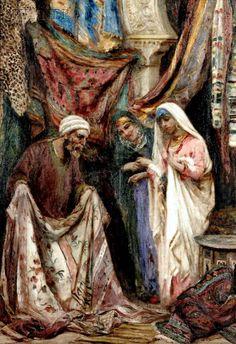 At the Textile Market , Cairo  Fabio Fabbi (Italian, 1861-1946) Oil on canvas , 70.8 x 49.7 cm