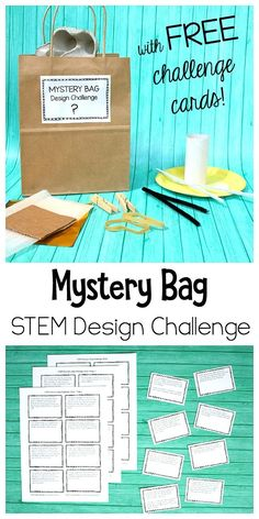 STEM Design Challenge for Kids: Mystery Bag Challenge with Free Printable STEM Challenge Cards- Makes a great classroom center, summer camp activity, or boredom buster! Summer Camp Activities, Steam Activities, Science Activities, Science Stations, Science Ideas, Science Experiments, Stem Science, Science For Kids, Fourth Grade Science