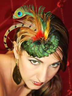 Pheasant and Peacock Feather Fascinator. $49.99, via Etsy.