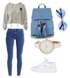 """☺️💗"" by faithxjones on Polyvore featuring Sans Souci, even&odd, NIKE and Topshop"