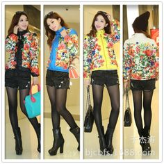 Free shipping , 2013 fashion slim cotton prints short design women Autumn Floral wadded jacket cotton-padded jacket ,J28