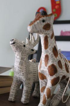 Paper Mache Giraffe & Deer