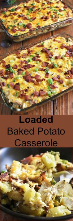 Loaded Baked Potato Casserole full of cheesy, gooey, bacon-y, chicken-y wholesome goodness can be on your table and feed a crowd in 45 minutes! #casserole #recipes