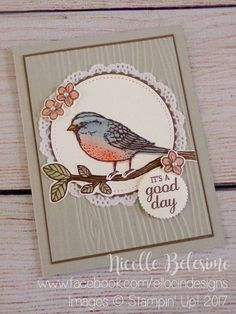 Good Day card made with Best Birds stamp set, and Layering Circles and Stitched Shapes Framelits from Stampin' Up! Birds and Blooms