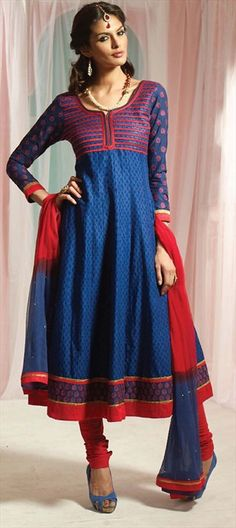 96141, Anarkali Suits, Cotton, Machine Embroidery, Printed, Blue, Red and Maroon Color Family