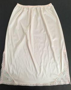 "Vtg Vanity Fair Nylon Antron III Half Slip Pink Large 22"" Long | eBay"
