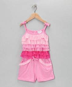 Take a look at this Pink Tiered Romper - Infant & Girls by Longstreet on #zulily today!